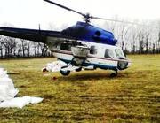Розкидання селітри гвинтокрилом вертольотом